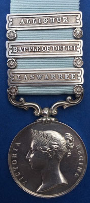 Army of India Medal awarded to S. Brown of HM 27th LD: Battle of Laswaree on 1st November 1803 in the Second Mahratta War