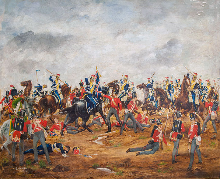 Buffs at the Battle of Albuera on 16th May 1811 in the Peninsular War: picture by E. Heinneke