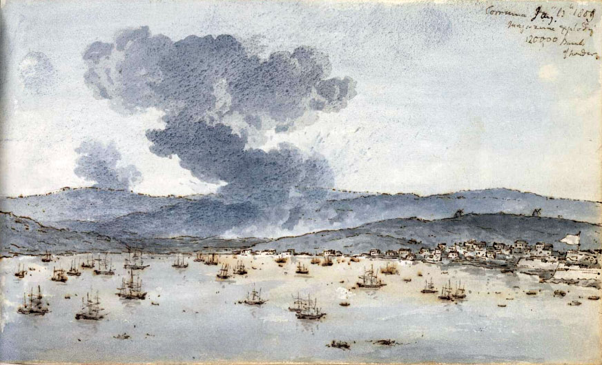 Corunna harbour with the British Fleet at the time of the explosion of the magazine in Corunna: Battle of Corunna on 13th January 1809 in the Peninsular War: water colour sketch by Robert Kerr Porter