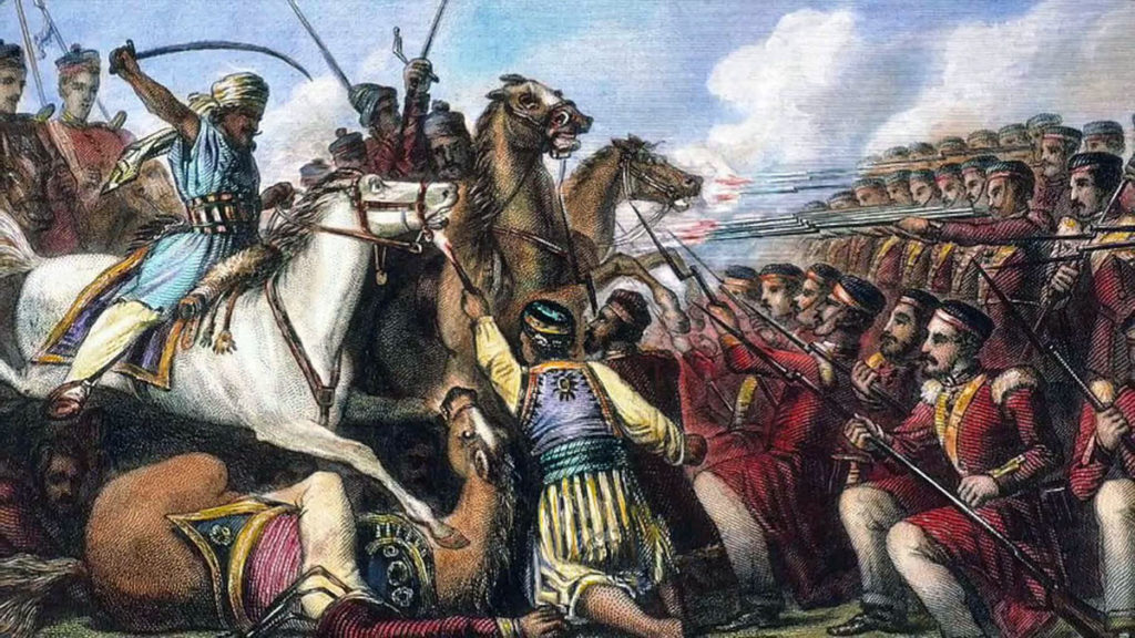 Battle of Laswaree on 1st November 1803 in the Second Mahratta War: an Indian image