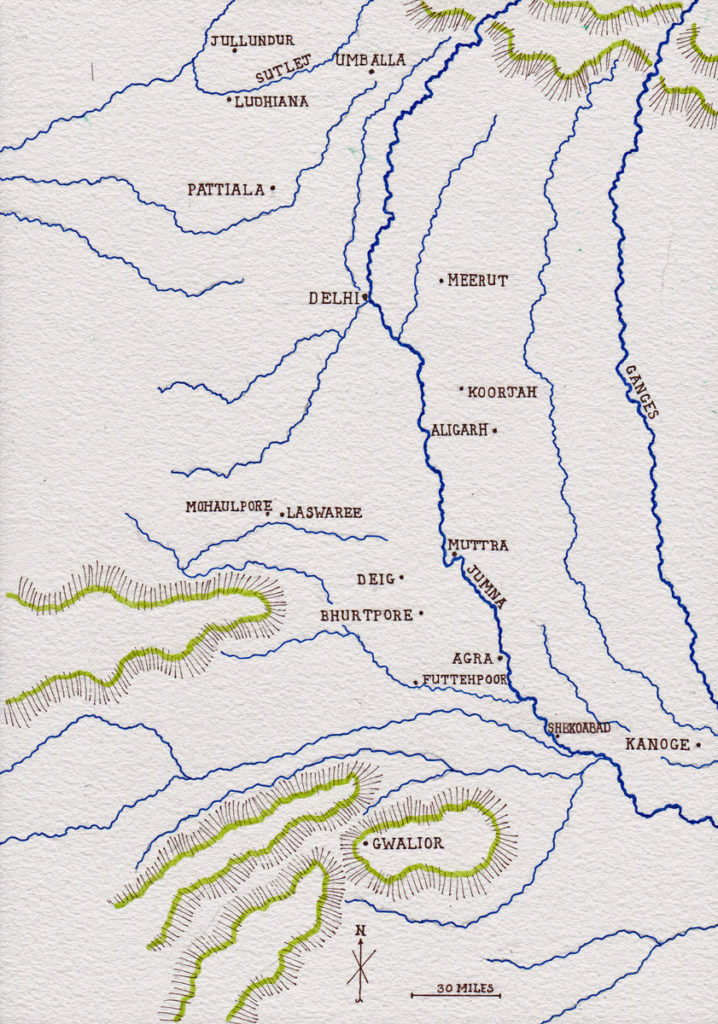 Map of central northern India: Battle of Laswaree on 1st November 1803 in the Second Mahratta War: map by John Fawkes