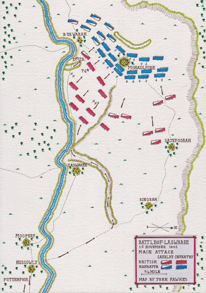 Map of Lake's main attack at the Battle of Laswaree on 1st November 1803 in the Second Mahratta War: map by John Fawkes