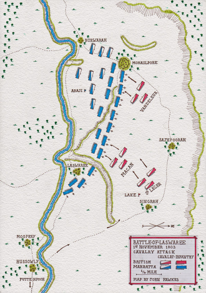 Map of Lake's cavalry attack at the Battle of Laswaree on 1st November 1803 in the Second Mahratta War: map by John Fawkes