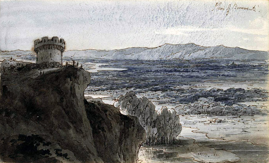 Plain of Benavente: Battle of Benavente on 29th December 1808 in the Peninsular War: water colour sketch by Robert Kerr Porter