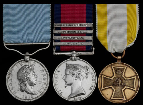 Medals awarded to •Private Eckhard Bohne of the 2nd Light Battalion of the King's German Legion: Guelphic Medal, Military General Service Medal and Hanoverian Medal for Volunteers: Retreat from Burgos in the Peninsular War
