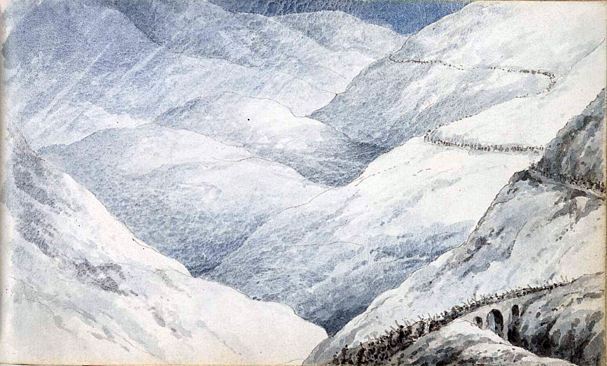 Moore's army on the road across the mountains to Corunna: Battle of Cacabelos on 3rd January 1809 in the Peninsular War: water colour sketch by Robert Kerr Porter