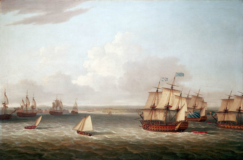 British Fleet entering Havana Harbour on 21st August 1762: Capture of Havana in August 1762 during the Seven Years War