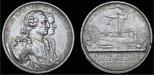 Medal issued by the Madrid Academy of Arts commemorating Velasquez and Gonzalo for their defence of El Morro Castle: Capture of Havana in August 1762 during the Seven Years War
