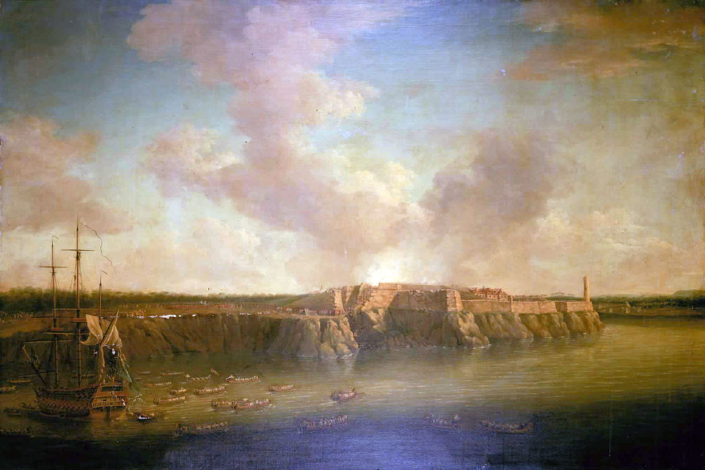 El Morro Castle: Capture of Havana in August 1762 during the Seven Years War: picture by Dominic Serres