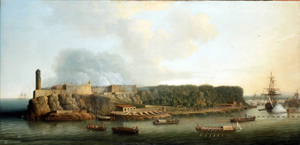 El Morro Castle, wooded La Cabañas ridge and the Boom Defence in the Capture of Havana in August 1762 during the Seven Years War: picture by Dominic Serres