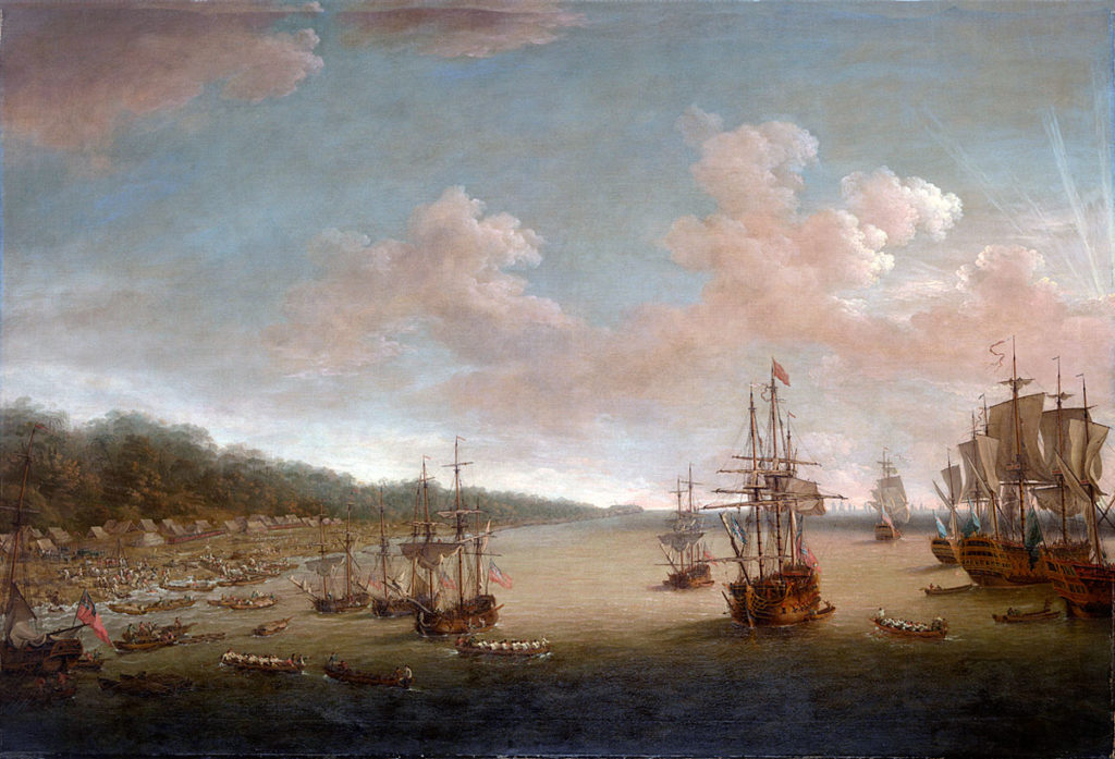 British landing at Coximar on 7th June 1762: Capture of Havana in August 1762 during the Seven Years War: picture by Dominic Serres