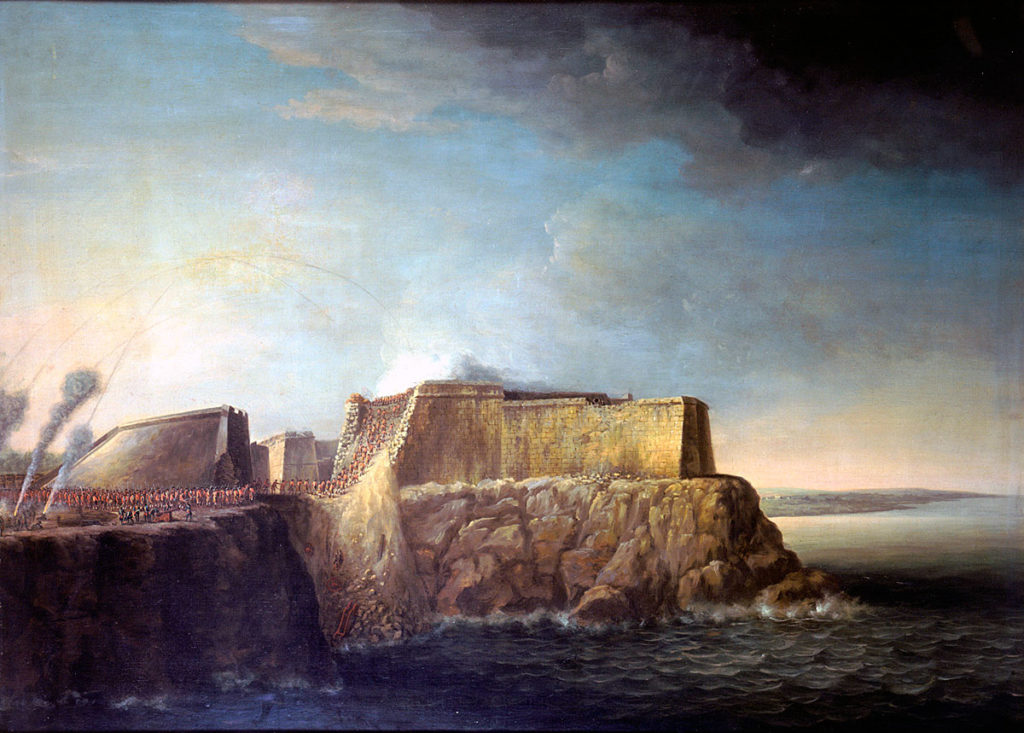 Storming of El Morro Castle on 30th July 1762 in the Capture of Havana in August 1762 during the Seven Years War: picture by Dominic Serres