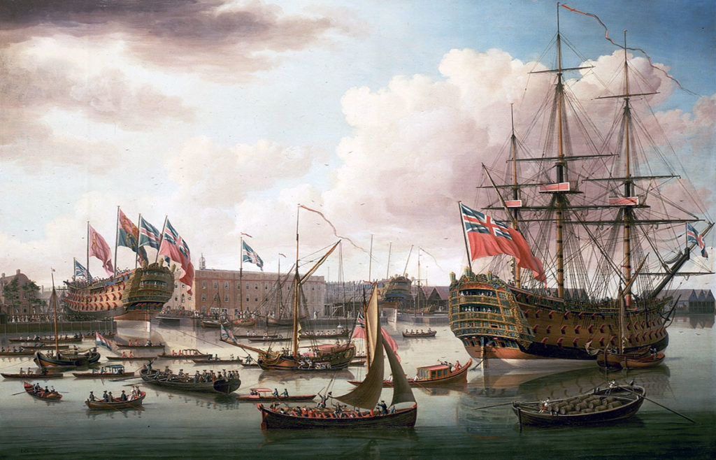 Launch of HMS Cambridge at Deptford in 1757: Capture of Havana in August 1762 during the Seven Years War: picture by John Clevely (HMS Royal George on right)