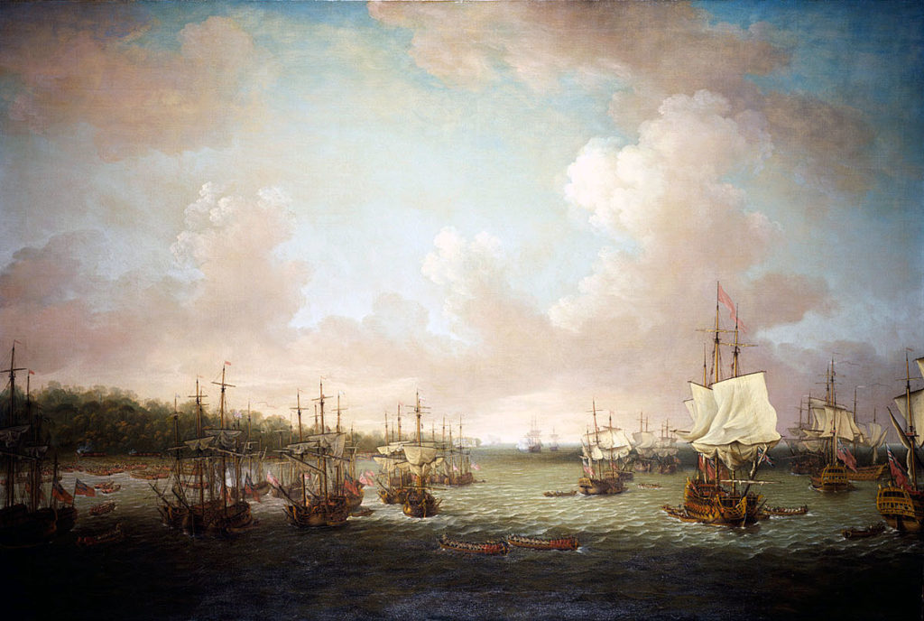 British ships landing guns at Coximar on 30th June 1762: Capture of Havana in August 1762 during the Seven Years War