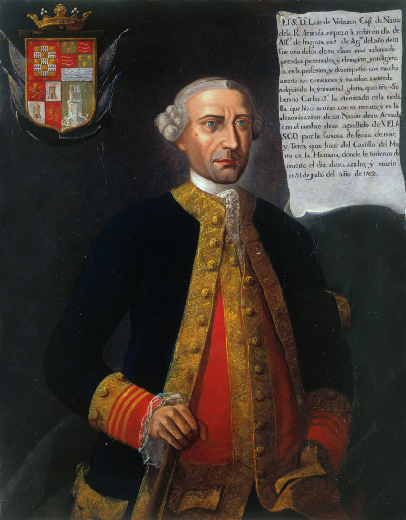 Don Luis Vicente de Velasco, commander of El Morro Castle: Capture of Havana in August 1762 during the Seven Years War: picture by Joshua Reynolds: Keppel points at El Morro Castle stormed by British troops on 30th July 1762