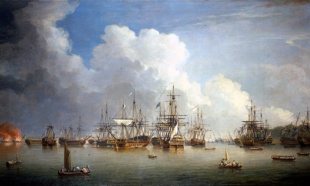 Captured Spanish ships after the Surrender of Havana to the British on 14th August 1762 during the Seven Years War: picture by Dominic Serres