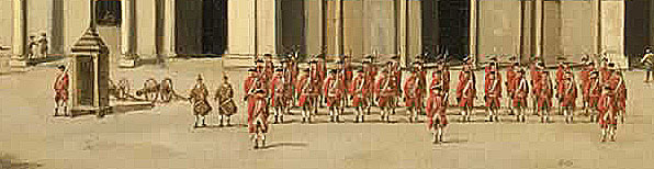 British Soldiers parading in Havana after the Capture of Havana in August 1762 during the Seven Years War: detail from picture by Dominic Serres
