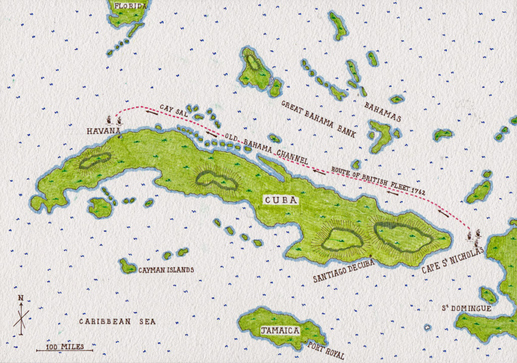 Map of Cuba showing the approach route of the British Fleet to Havana from Cape St Nicholas: Capture of Havana in August 1762 during the Seven Years War: map by John  Fawkes