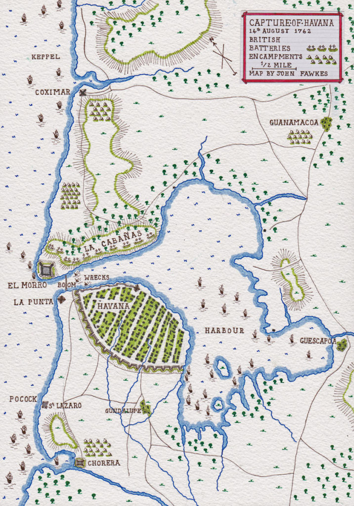 Map of the Capture of Havana in August 1762 during the Seven Years War: map by John  Fawkes