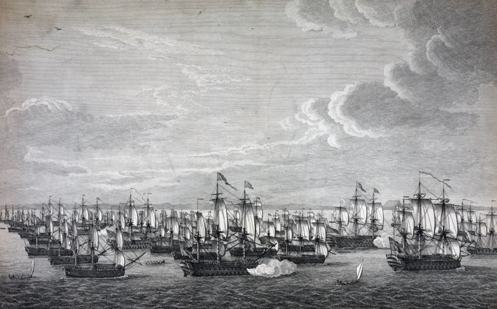 Approach of the British Fleet to Havana from Cape St Nicholas, passing through the Old Bahama Channel: Capture of Havana in August 1762 during the Seven Years War