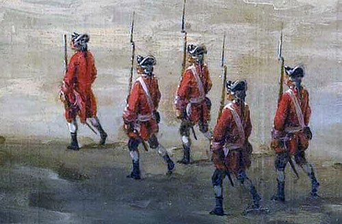 Redcoats in the city after the Capture of Havana in August 1762 during the Seven Years War: detail from a picture by Dominic Serres