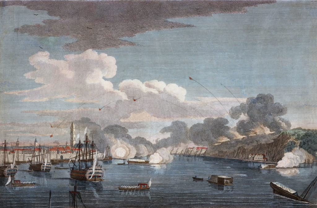 British bombardment of Havana seen from the harbour: Capture of Havana in August 1762 during the Seven Years War