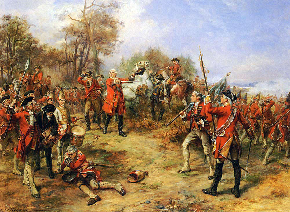 King George II at the the Battle of Dettingen on 16th June 1743 in the War of the Austrian Succession: picture by Robert Hillingform