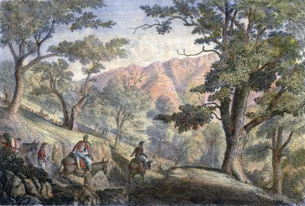 Valley of the Bidassoa, 3 miles above Irun: Battle of San Marcial 31st August-1st September 1813 in the Peninsular War: picture by Robert Batty