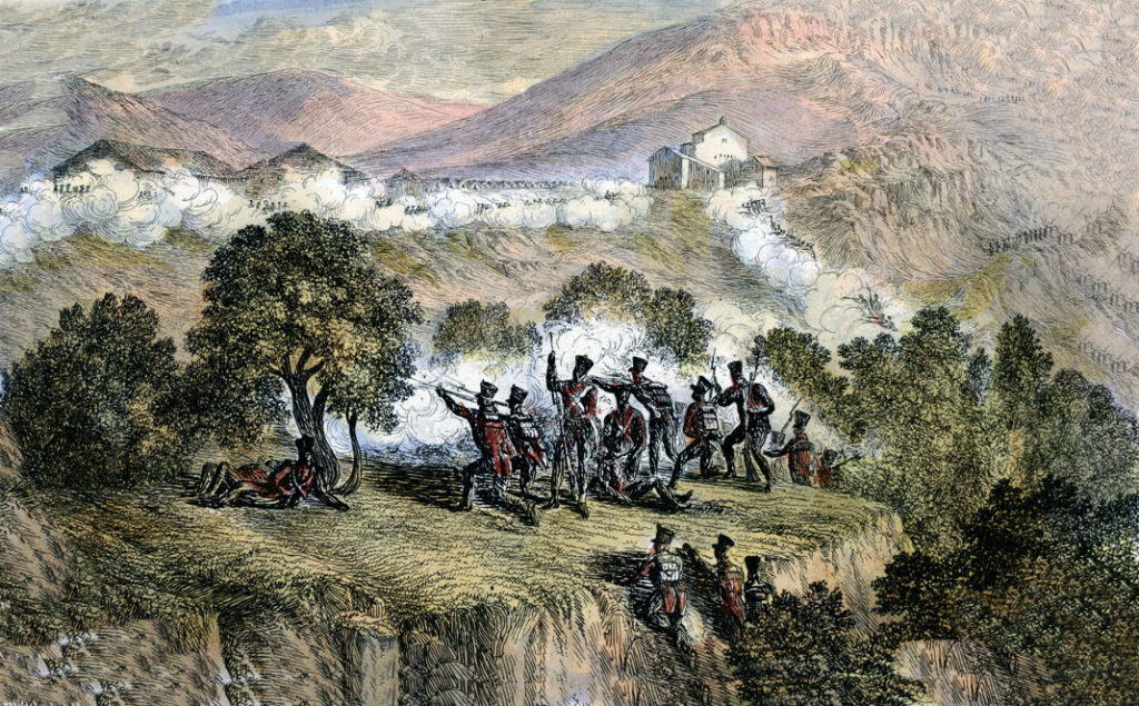 Spanish troops crossing the Bidassoa River and attacking the French in Biriatou at the Battle of the Bidassoa on 7th October 1813 during the Peninsular War: picture by Robert Batty