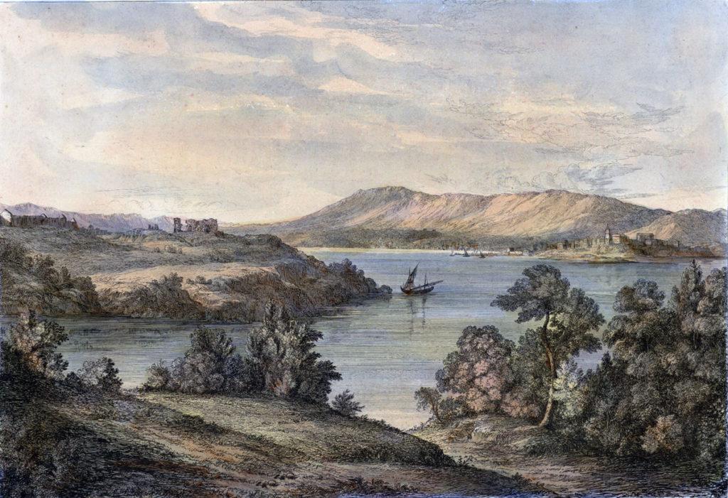 Fuentarrabia seen from Hendaye across the Bidassoa Estuary: Battle of the Bidassoa on 7th October 1813 during the Peninsular War: picture by Robert Batty
