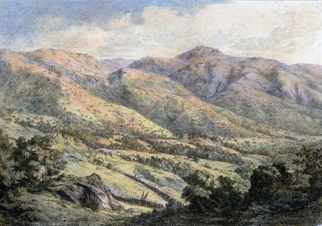 Mount Aca seen from Mount San Marcial with troops in the valley: Battle of the Bidassoa on 7th October 1813 during the Peninsular War: picture by Robert Batty