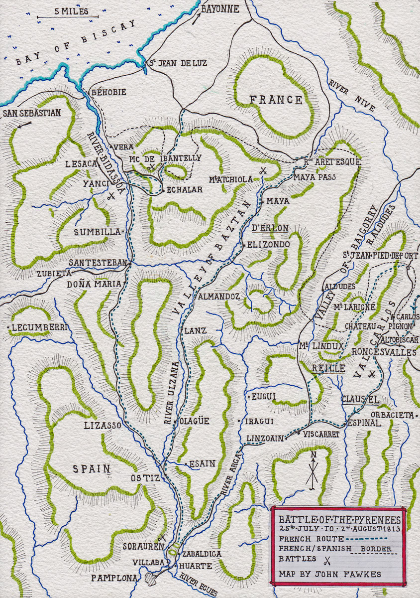 Map of the area between Pamplona, Sr Jean de Luz and St Jean pied de Port: Battle of the Pyrenees fought between 25th July and 2nd August 1813 in the western Pyrenees Mountains, during the Peninsular War: the battle sites are marked by crossed swords. French routes are shown by dotted blue lines: map by John Fawkes