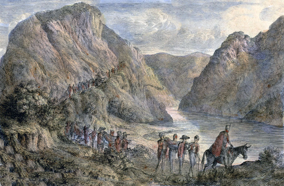 Road from Irun to Vera along the River Bidassoa: Battle of the Bidassoa on 7th October 1813 during the Peninsular War: picture by Robert Batty