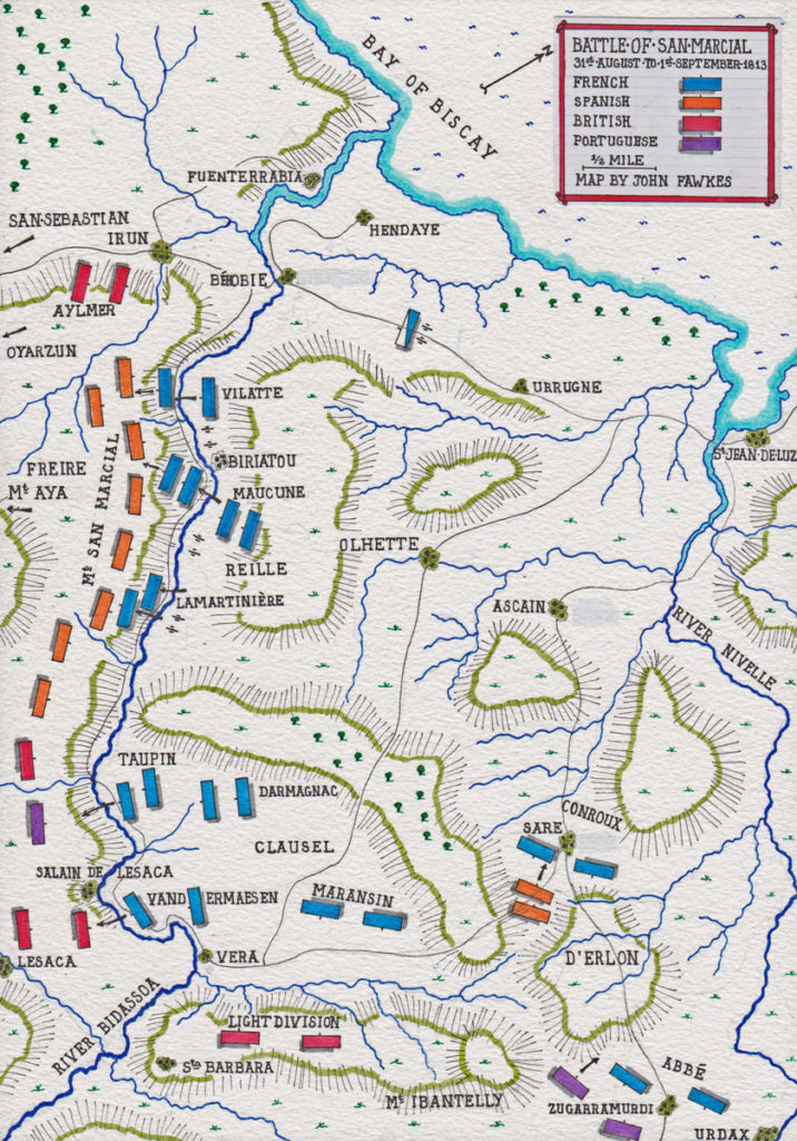 Map of Battle of San Marcial 31st August-1st September 1813 in the Peninsular War: map by John Fawkes