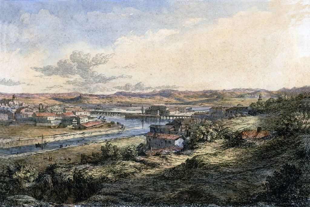 St Jean de Luz on the River Nivelle: Battle of the Nivelle on 10th November 1813 during the Peninsular War: picture by Robert Batty