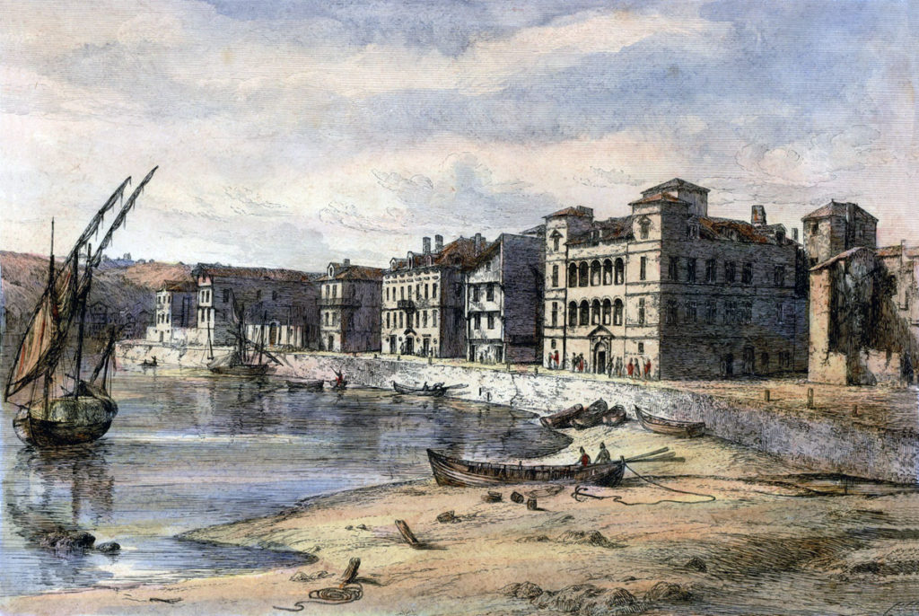 Waterfront at St Jean de Luz: Battle of the Nivelle on 10th November 1813 during the Peninsular War: picture by Robert Batty