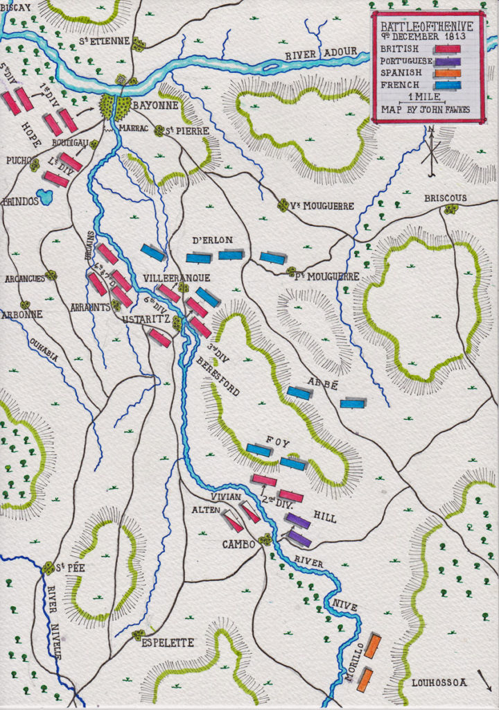 First Day of the Battle of the Nive fought between 9th and 13th December 1813 in the Peninsular War: map by John Fawkes