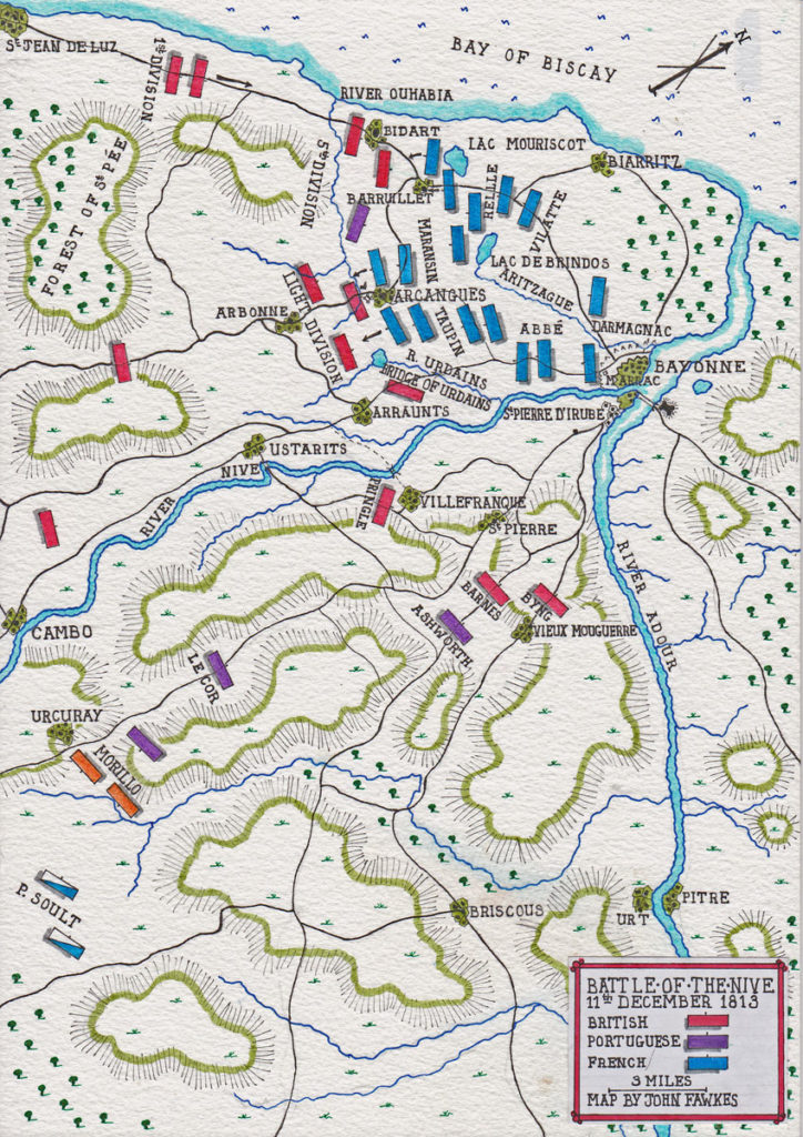 Map of the Battle of the Nive on 11th December 1813 in the Peninsular War: map by John Fawkes