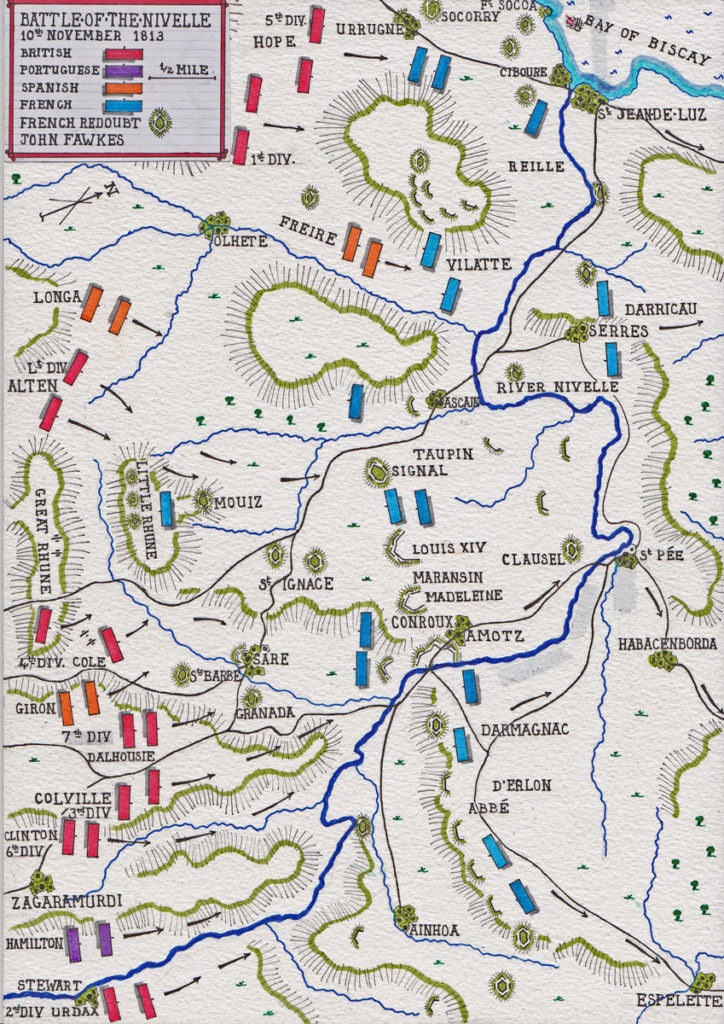 Map of the Battle of the Nivelle on 10th November 1813 during the Peninsular War: Map by John Fawkes