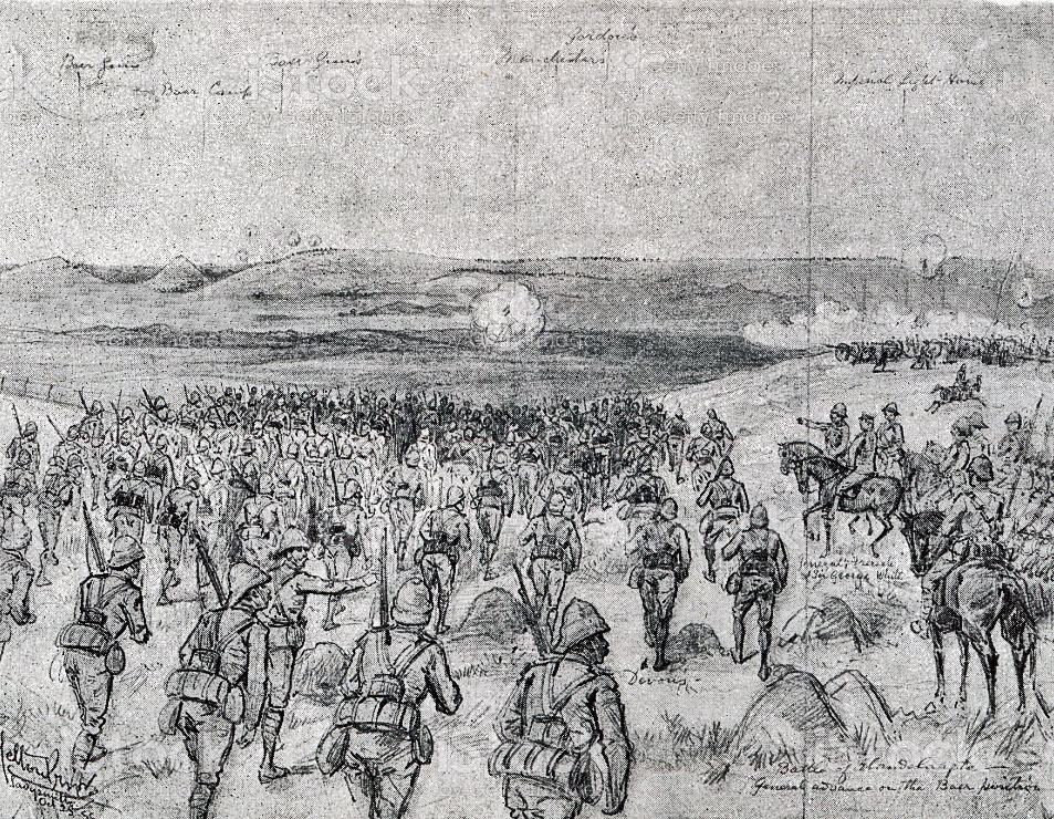 British Infantry Attack at the Battle of Elandslaagte on 21st October 1899 in the Great Boer War: sketch by Melton Prior