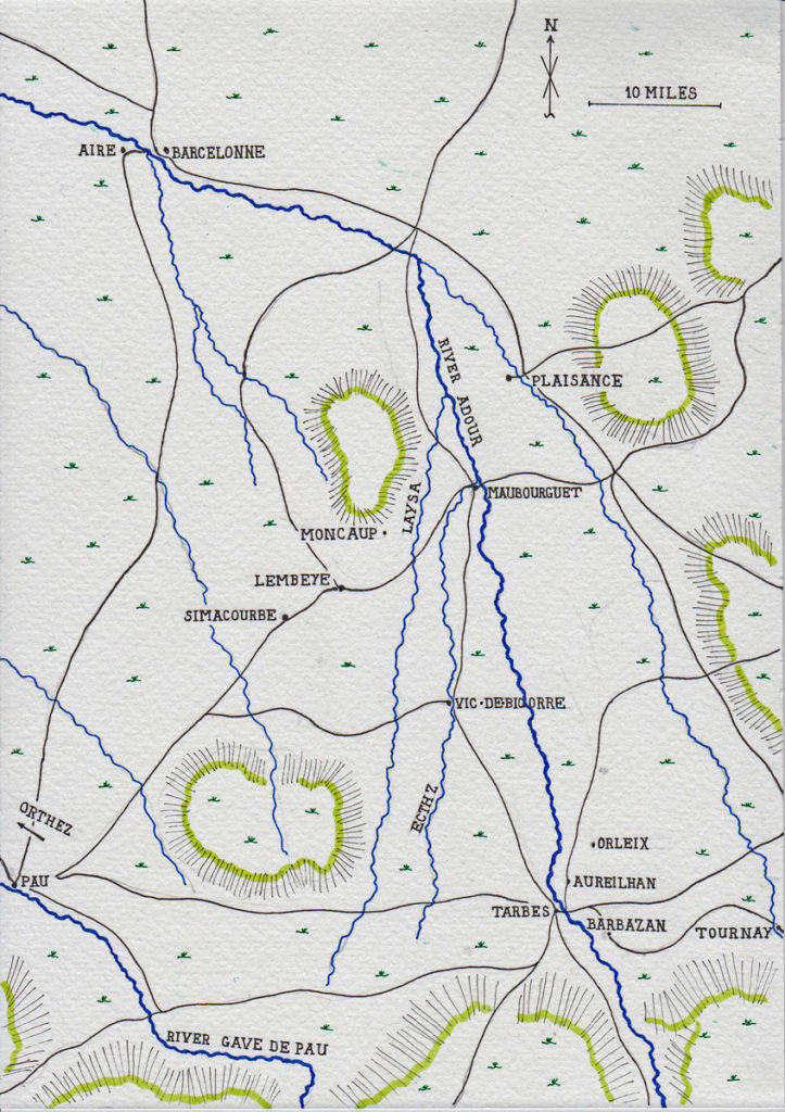 Map of the area of Aire-Tarbes-Pau: Battle of Tarbes on 20th March 1814 in the Peninsular War: map by John Fawkes