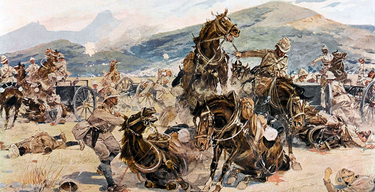Royal Artillery on Lombard's Kop at the Battle of Ladysmith on 30th October 1899 in the Boer War