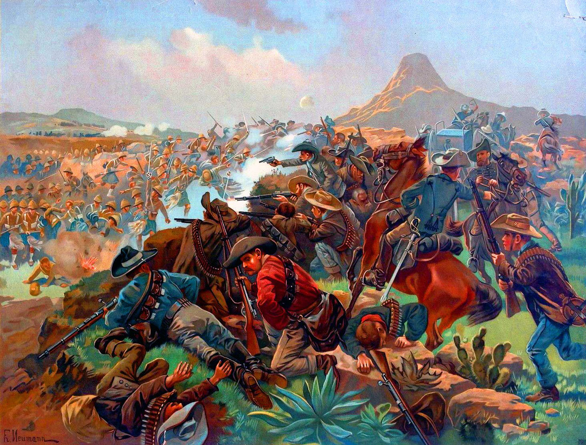 Boers at the Battle of Elandslaagte on 21st October 1899 in the Great Boer War: picture by Fritz Neumann