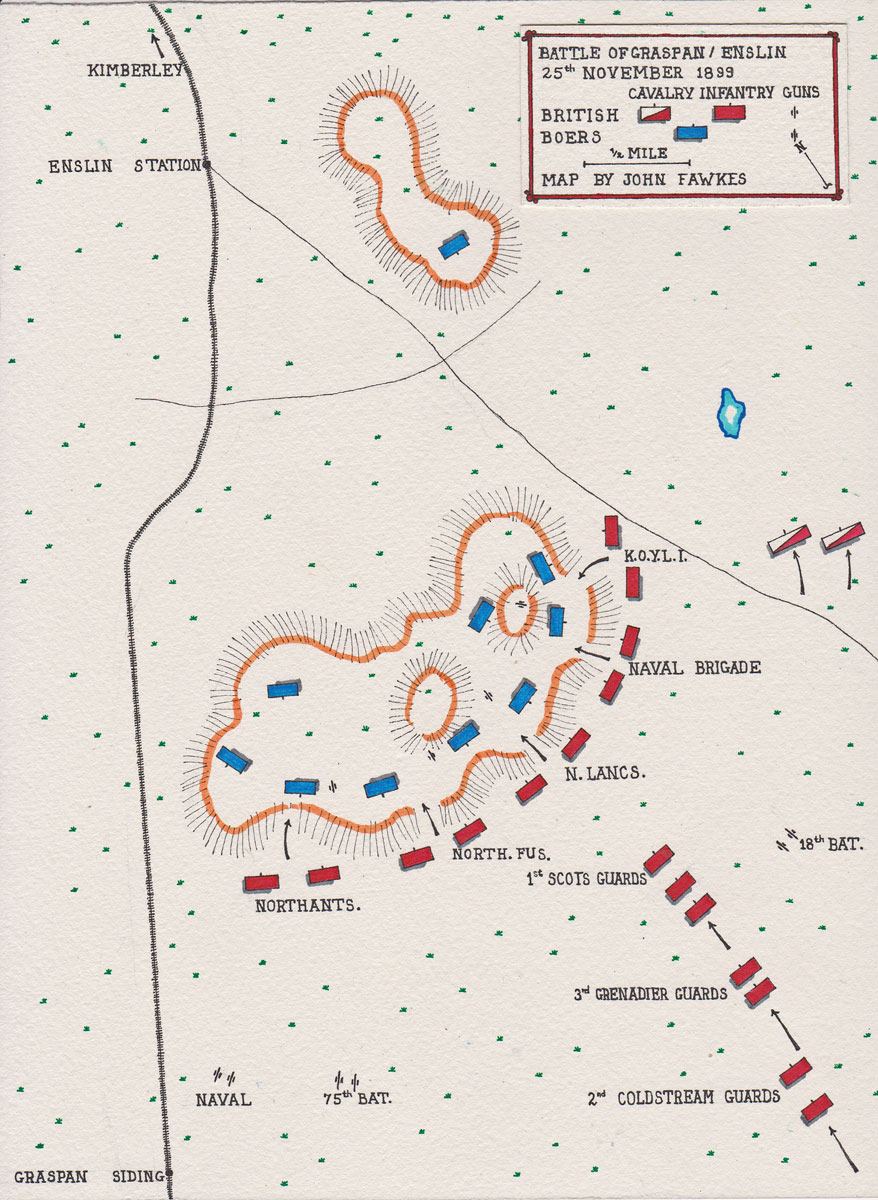 Map of the Battle of Graspan (also known as Enslin), fought on 25th November 1899 in the Great Boer War: map by John Fawkes