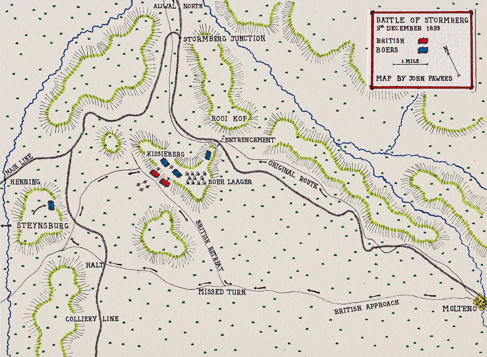 Battle of Stormberg on 9th and 10th December 1899 in the Boer War: map by John Fawkes