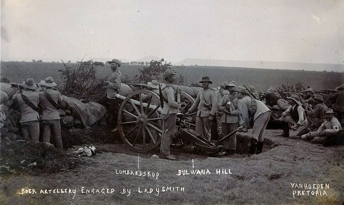 Boer gun positioned to the south-west of Ladysmith: Siege of Ladysmith, 2nd November 1899 to 27th February 1900 in the Great Boer War