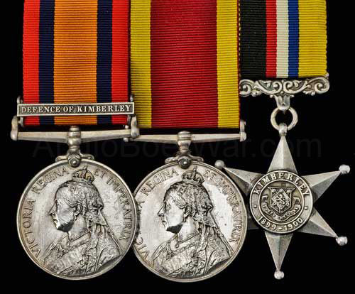 Queen's South Africa Medal with clasp 'Defence of Kimberley' and Kimberley Star: Siege of Kimberley, 14th October 1899 to 15th February 1900 during the Great Boer War