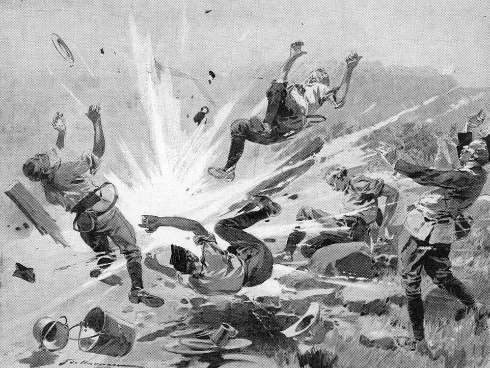 Boer shell exploding in the kitchen of the 18th Hussars: Siege of Ladysmith 2nd November 1899 to 27th February 1900 in the Great Boer War