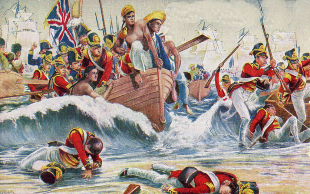 British 13th Regiment landing at Aboukir Bay on 8th March 1801: Battle of Alexandria