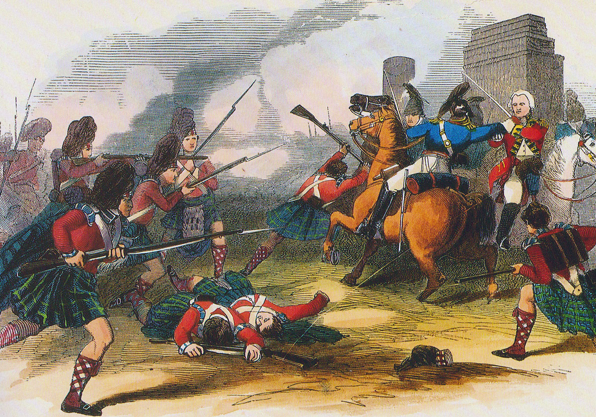 42nd Highlanders rescuing General Sir Ralph Abercromby at the Battle-of Alexandria on 21st March 1801 in the French Revolutionary War